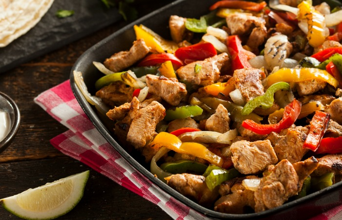 Homemade Gluten Free Chicken Fajitas with Vegetables and Tortillas