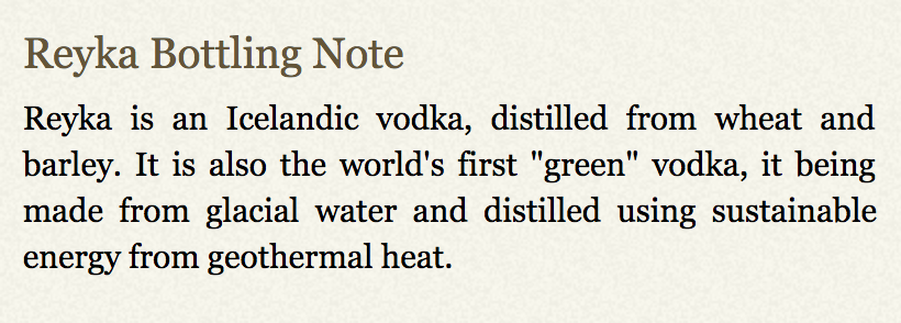 Reyka Bottling Note