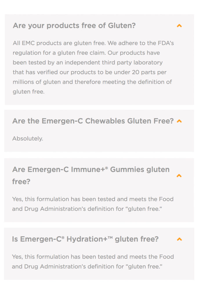 Emergen-C Gluten Free Products List