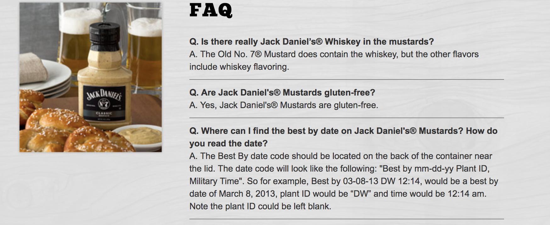 jack daniels mustard faq
