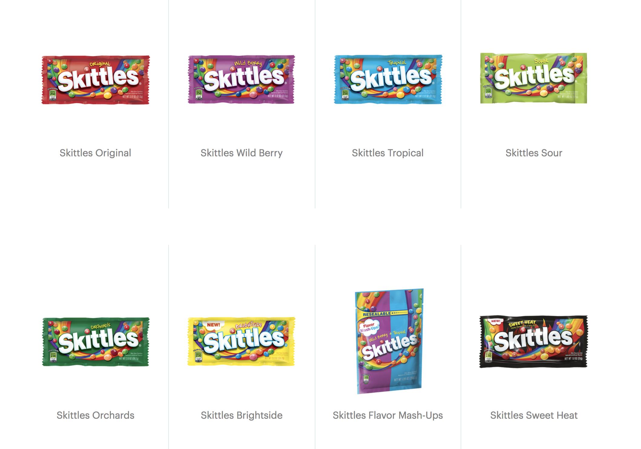 skittles flavors