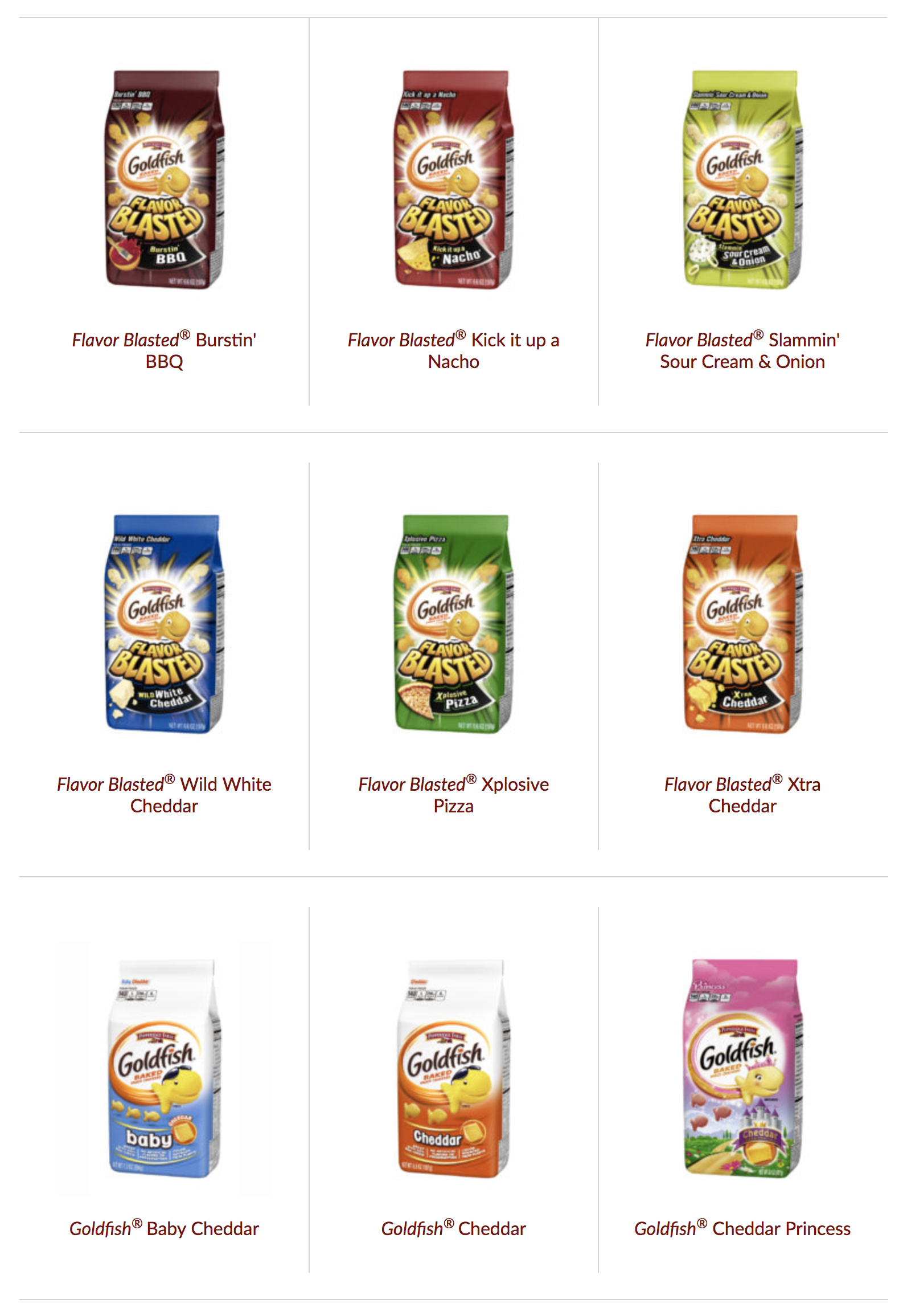 Are Goldfish crackers products gluten free?