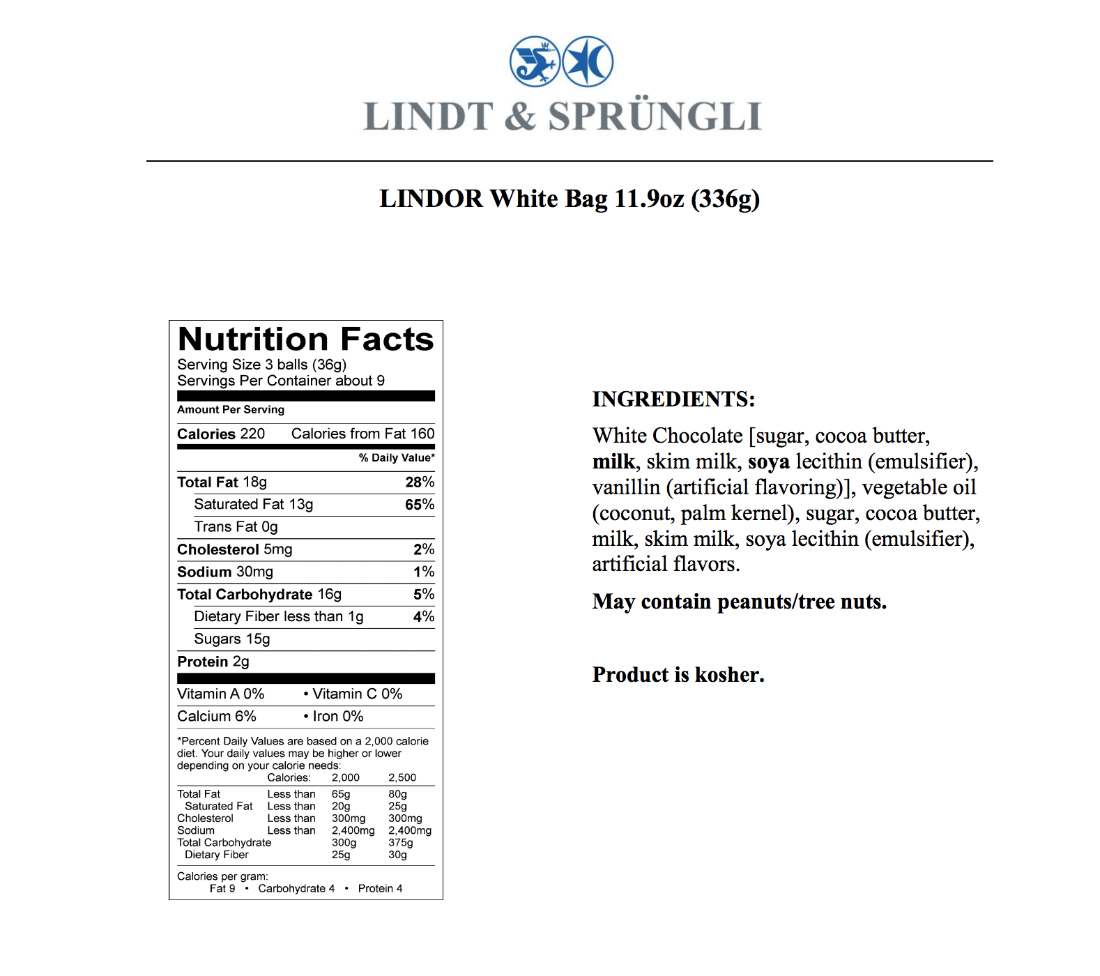 lindt white chocolate nutritional facts