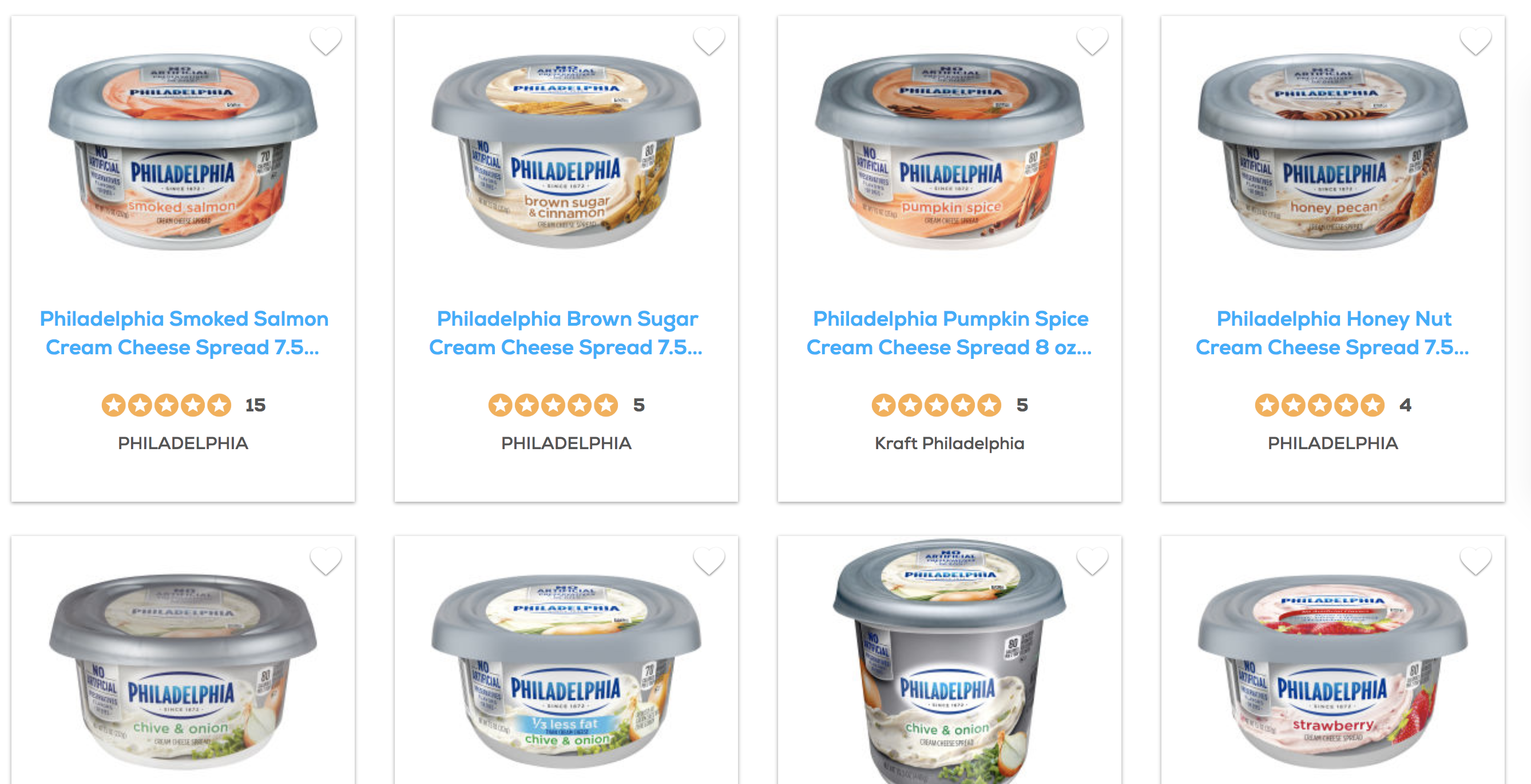 Philadelphia Cream Cheese Flavors