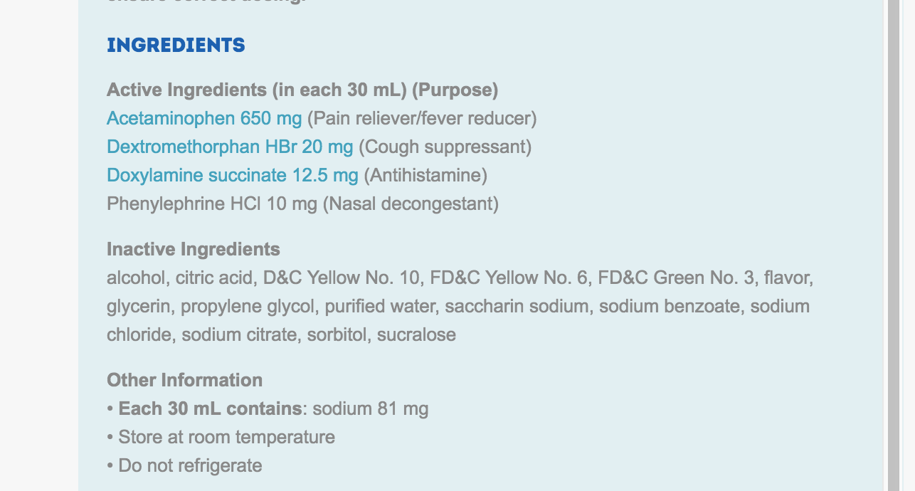 vick's nyquil ingredients
