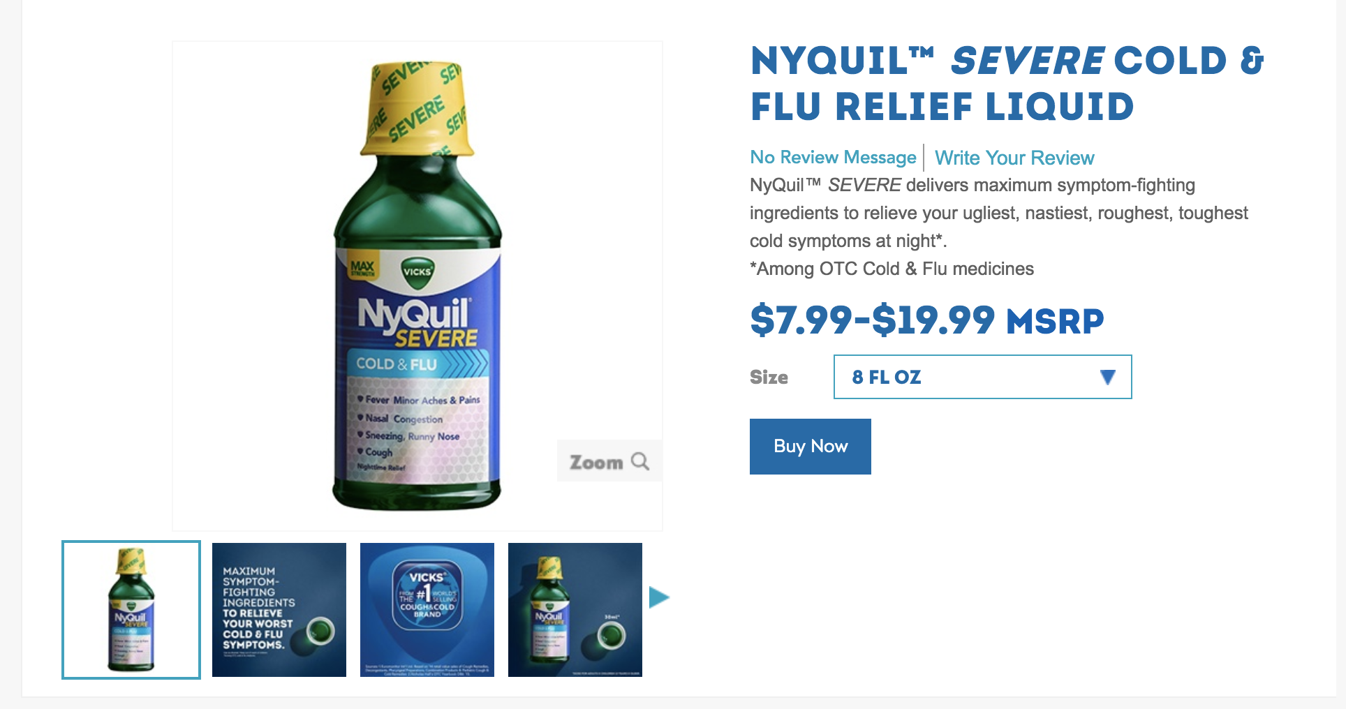 vick's nyquil product page