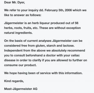 JYes, agermeister Gluten Free