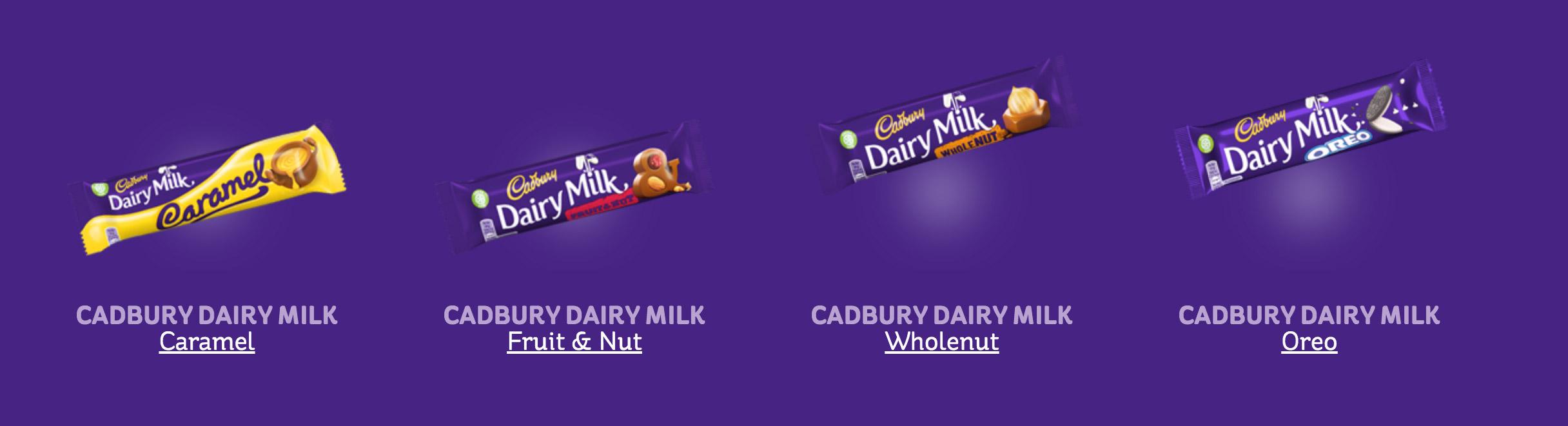 cadbury dairy milk flavors