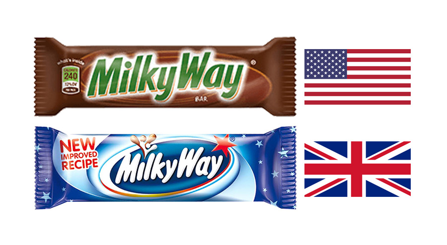 Milky Way Bars (Uk & USA versions)