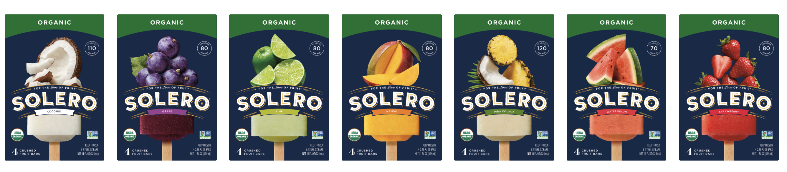 solero fruit bars, ice cream dessert