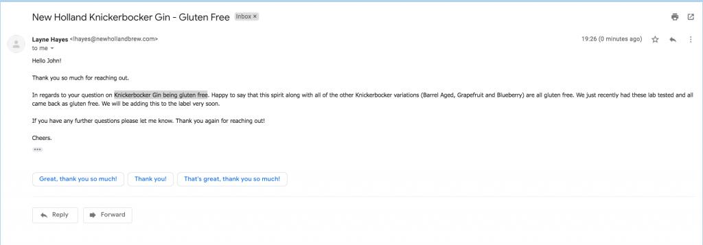 Knickerbocker Gin being gluten free email