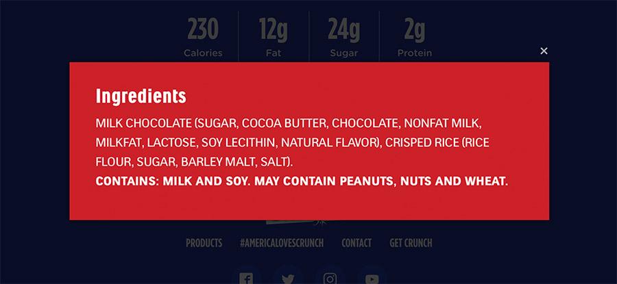 crunch bar ingredients