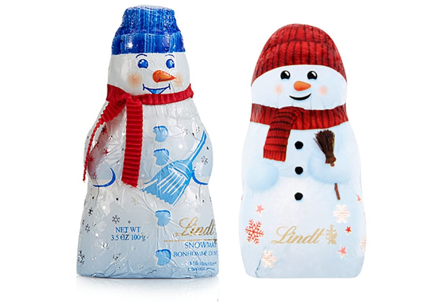 Lindt Chocolate Snowman in Red & Blue