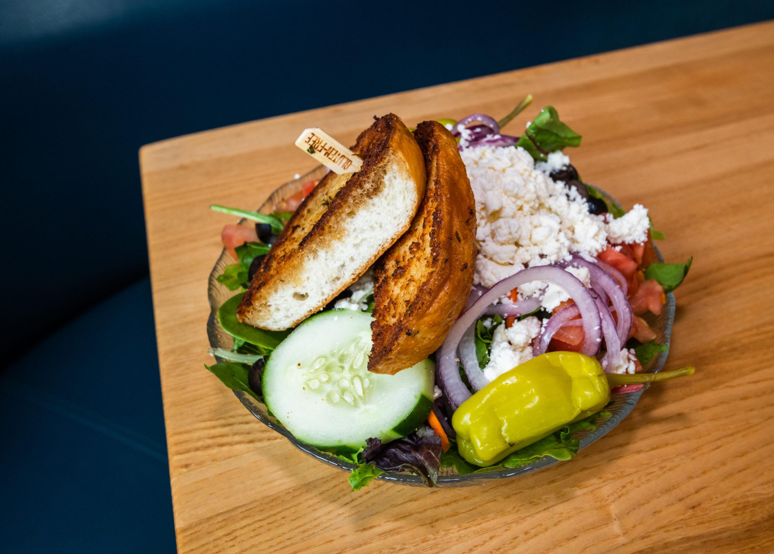 gluten free greek salad with gf bread, the cabin restaurant