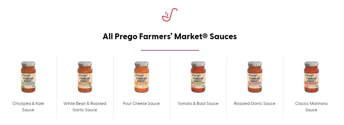 prego farmers market pasta sauces